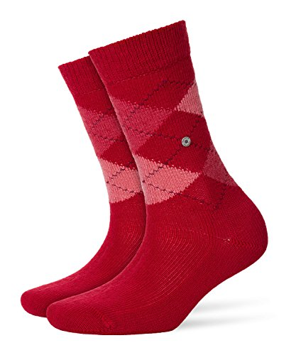 Burlington Damen Whitby klassisches Argyle Muster 1 Paar Socken, Blickdicht, Vermillion red, 36-41