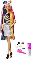 Idea Regalo - Barbie Bambola con Capelli Lunghi Arcobaleno e Tanti Accessori, Giocattolo per Bambini 3 + Anni, FXN96