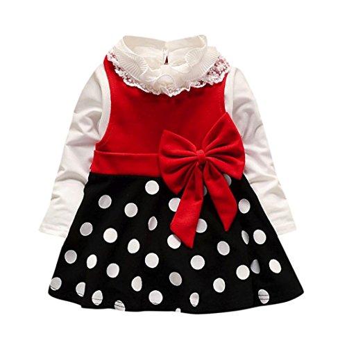 Amlaiworld baby Mädchen weich Punkte drucken kleider+ langarmshirt,bunt Flickwerk bowknot Kleinkind winter kleidung,0-24Monate (24 Monate, Rot) (Kleidung Herbst)