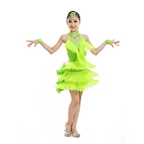 Dance Kostüme Flapper Kinder (Fransen Rock Game-Show Mädchen Latin Dance Kleidung Kinder tanzen Kleidung Quaste Kostüm Übung)