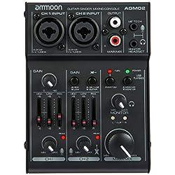 ammoon Mini Table de Mixage 2 Canaux Console de Mixage Mixeur Audio Numérique Carte Son EQ 2 Bandes Intégrées avec Alimentation Fantôme 48V et USB 5V pour Enregistrement en Studio DJ Karaoké