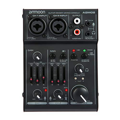 ammoon Consola de Mezclado Mezclador de Audio Digital Mini 2 Canales Tarjeta de Sonido Ecualizador de 2 Bandas Incorporado 48V Phantom Poder 5V Alimentado por USB