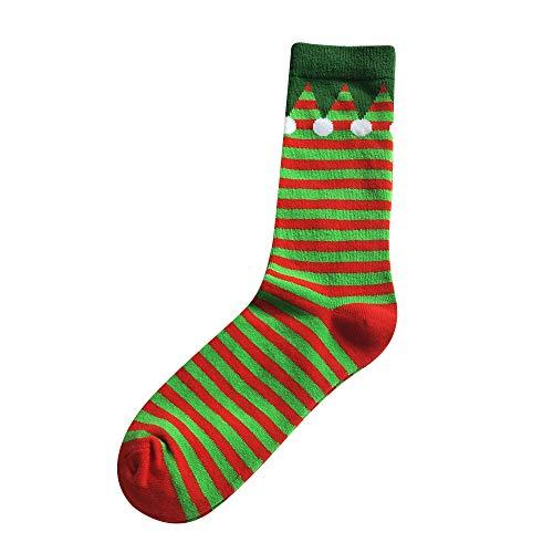 ZZBO Herren Merry Christmas Weihnachtsstrumpf Cartoon Weihnachtsmann Weihnachtsbaum Streifen Gedruckte Ankle Socks Niedliche Baumwolle Lässige Socken Lustige Mittlere Strümpfe