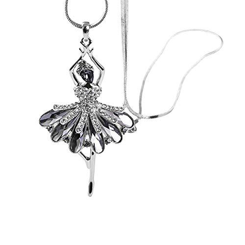 Topasaire Halsketten Für Frauen Silber Modeschmuck Damen Choker Chain Weiblich Ballett-Mädchen-Legierung Pullover Kette Anhänger Schmuck Deko Party Zubehör Geschenk Für Frauen (eine für eine) (Ballett Wohnungen Weichen)