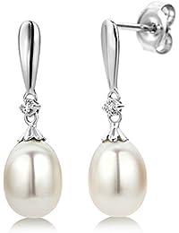 Miore Damen-Ohrringe 9 Karat / Edle Perlen Ohrringe aus 375 Weißgold mit weißer Süßwasserzuchtperle und 0,02 ct. Diamant / Ohrringe hängend 7 x 22 mm