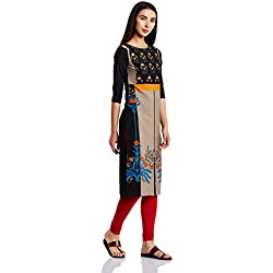 W for Woman Women's Straight Kurta (17AU16862-50036_Jet Black_12)