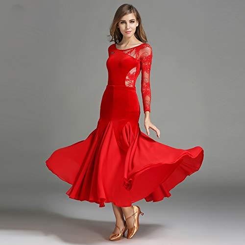 Modern Lady Big Pendel Velvet Ballroom Dance Kleid Modern Dance Kleid Tango Und Walzer Tanz Kleid Tanzwettbewerb Rock Langarm Lace Dress Dance - Red Velvet Kleid Kostüm