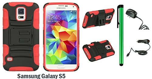 Samsung Galaxy S5 Holster Case - Heavy Duty Dual Shield Hybrid Protector Case with KickStand and Swivel Belt Clip Holster + Travel (Wall) Charger & Car Charger + 1 of New Metal Stylus Touch Screen Pen (RED / BLACK)