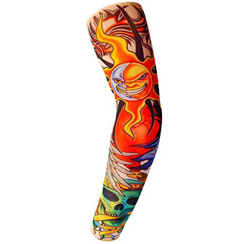 Kit für Sonnenschutz, Temporäre Tattoo-Ärmel, Armstrümpfe, Halloween Body Art Zubehör für Damen und Herren - 10 Pattens (D) ()