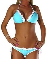ALZORA Neckholder Damen Bikini Set Top und Hose türkis , 10180