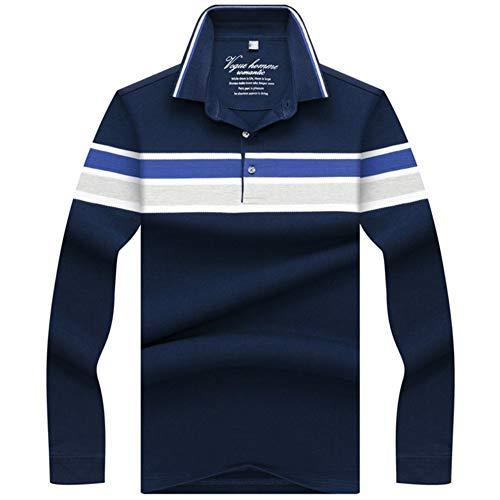 NISHIPANGZI Neue Männer Polos 3D Stickerei gestreiftes Poloshirt Männer lässig Polo Shirt Herren Langarm Polo Shirt Navy Blau, XL -