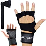 Netrox New Ventilated Weight Lifting Gloves with Built-In Wrist Wraps Full Palm Protection & Extra Grip Great for Pull Ups Cross Training Fitness WODs & Weightlifting Suits Men & Women Black (XS)