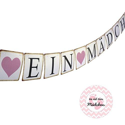 BENAVA ES IST EIN MÄDCHEN Girlande & Aufkleber - Dekoration Set Pinkelparty Babyshower Geburtstag Taufe Blau Rosa (Mädchen)