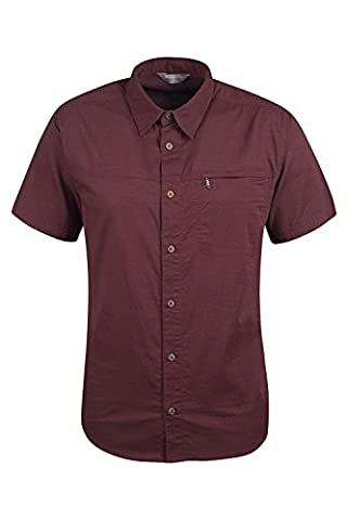 Mountain Warehouse Coconut Short Sleeve Mens Travel Shirt - 100% Cotton - Mesh Lined, Breathable, and Lightweight - Ideal for Summer Travel or Everyday Wear - Zipped Pocket Burgundy
