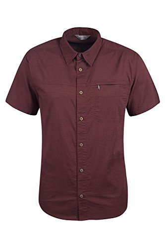 Mountain Warehouse Coconut Short Sleeve Mens Travel Shirt - 100% Cotton Summer Shirt, Mesh Lined Button Down Casual Shirt, Breathable - For Hiking, Camping, Travelling