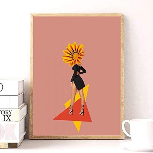 FA LEMON Mädchen Blumen Poster Wandkunst Bild Leinwand Gemälde für Mädchen Schlafzimmer Artwork Home Decor-50x70cmx1 Stück kein Rahmen