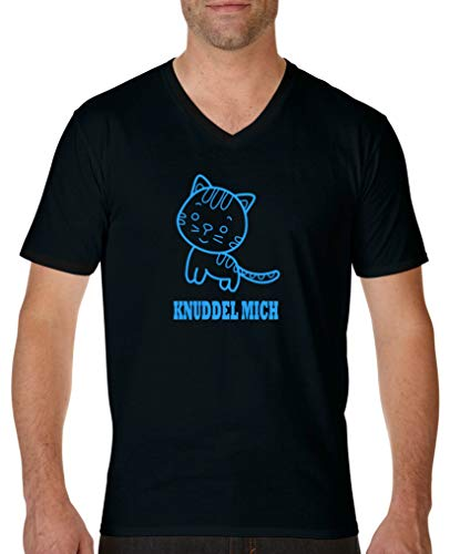 Comedy Shirts - Knuddel Mich Katze - Herren V-Neck T-Shirt - Schwarz/Blau Gr. M