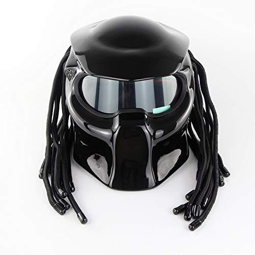 Predator Full Face Casco Moto/Predator Street Equitazione Halley Scorpion Mask con luci a LED Uomini e Donne Casco Four Seasons (Nero Brillante)