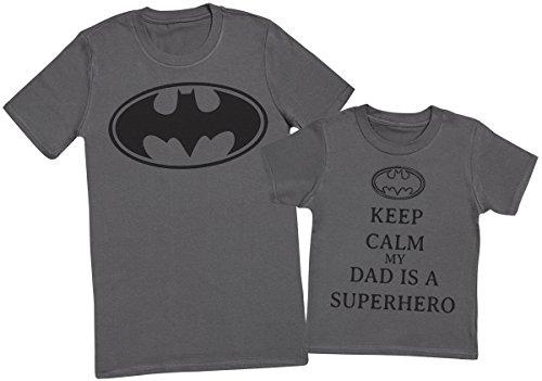Keep Calm My Dads A Super Hero - Passende Vater Kind Geschenk-Set - Vater T-Shirt und Kinder T-Shirt - Charcoal Grau - M & 3-4 Jahre (T-shirt Super Erwachsenen Hero)