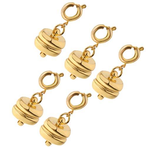 IPOTCH 5 Stücke 10mm Magnet Halsketten Verschluss Magnetverschluss Kettenverschluss Magnetschließe Schmuckverschlüsse für DIY Schmuck - Gold (Halsketten Magnetische Schmuckverschlüsse Für)