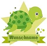 Samunshi® Schildkröte Aufkleber mit Namen Autoaufkleber Namensaufkleber Kinder in 7 Größen (20x17,5cm Mehrfarbig)