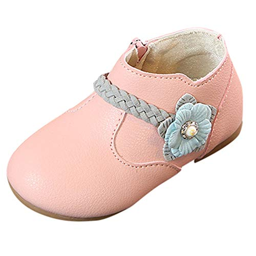5d4f8db7d Anglewolf Children Kid Girls Solid Flower Weave Princess Zip Student Boots  Casual Shoes Newborn Infant Baby