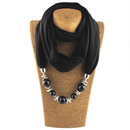 CADANIA Bague Foulard Colliers Perles Perle Couleur Unie Bijoux Châle Style Folk-personnalisé - 3# Noir