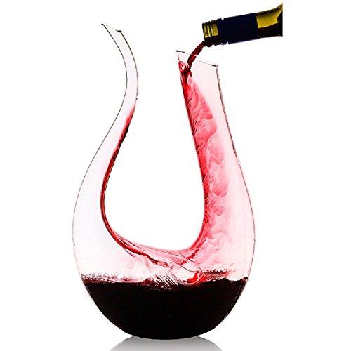 Asvert-Wein-Dekanter-15L-U-geformt-100-mundgeblasen-Bleifreier-Kristall-Glas-Belfter-klassische-Karaffe-Dual-Head