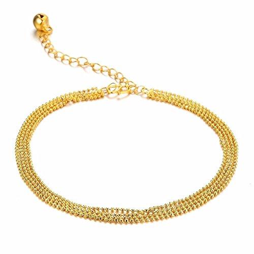 Beydodo Edelstahl Fußkette (Fußkettchen) 21 CM Für Damen Gold