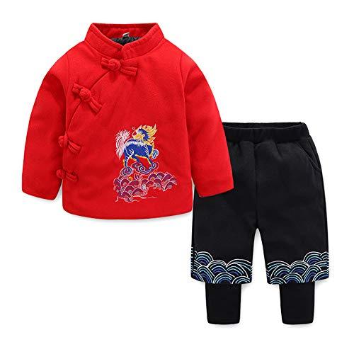 Baby Jungen Kleinkind Winter Warme 2 Stück Set Chinesischen Stil Traditionelle Kostüm Rot 90