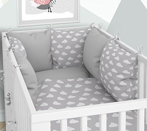 Tour de lit - Six coussins en velours pour lit bébé 60 x 120 cm