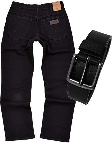 Wrangler TEXAS STRETCH Herren Jeans Regular Fit inkl. Gürtel (W36/L32, Black)