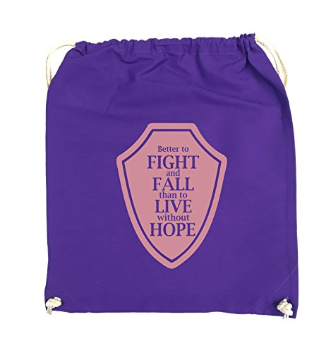 Comedy Bags - Better to fight and fall than to live wihtout hope - Turnbeutel - 37x46cm - Farbe: Schwarz / Silber Lila / Rosa