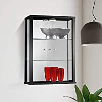 Displaysense Wall Mounted Glass Display Cabinet with Lighting (Black, Silver & Oak available) (Black)