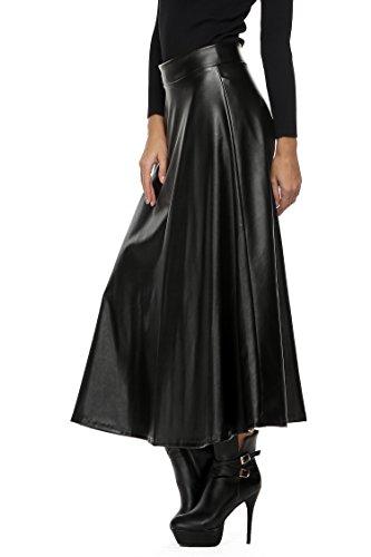 Zeagoo Jupe Longueur Mi-molletuir En Immitation Cuir Modèles Corolle Taille Haute Taille S-XXL Noir