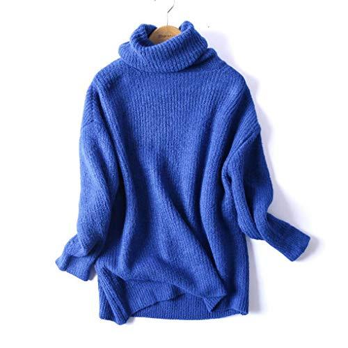 Les Femmes Oversize Basic Pull š€ col RoulšŠ en Tricot Femme col RoulšŠ Solide Chaud Overs Blue S