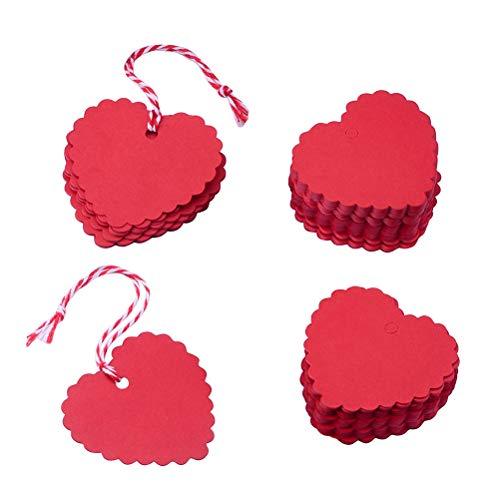 Toyvian 150 stücke Hang Tags Kraftpapier Scalloped und Herzförmigen Tags mit 20 mt String für Party Dekoration (Rot) Scalloped Hängen