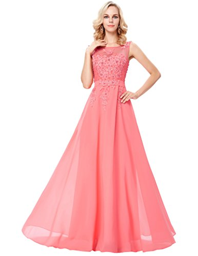 Damen Homecoming kleid Abendkleid Lang 46 CL007555-7 (Satin-chiffon-kleid)