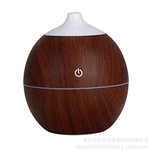CXQ feuchtigkeitsspendender Luftbefeuchter neue runde Holzaromamaschine leiser Desktop-USB-Mini-Luftfeuchtigkeitsspender, dunkelbraun