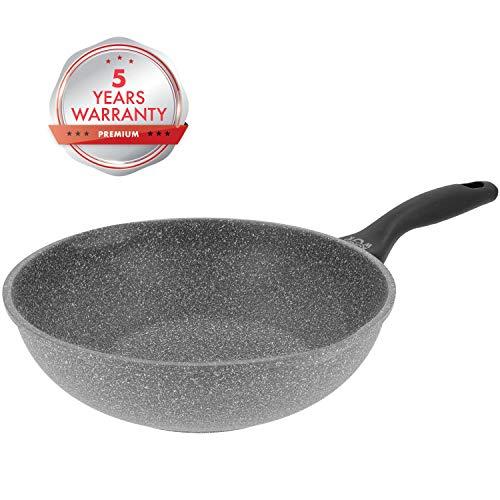 Juego de wok y utensilios de cocina 30 cm, 8 piezas, acero al carbono Dexam color gris