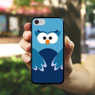 Apple iPhone X Silikon Hülle Case Schutzhülle Eule Owl Blau Hard Case schwarz
