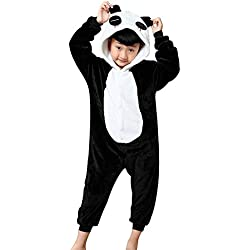 Z-Chen Pyjama Combinaison Animaux Costume Déguisement Enfant Fille Garçon, Panda, 4-6 ans, (Taille de Manufacture 105/120)