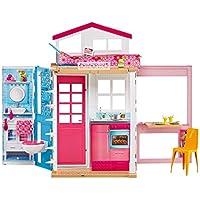Barbie DVV48 - 2 Etagen Ferienhaus und Puppe, portables Puppenhaus mit Zubehör, ca. 52 cm hoch mit Tragegriff, Mädchen Spielzeug ab 3 Jahren