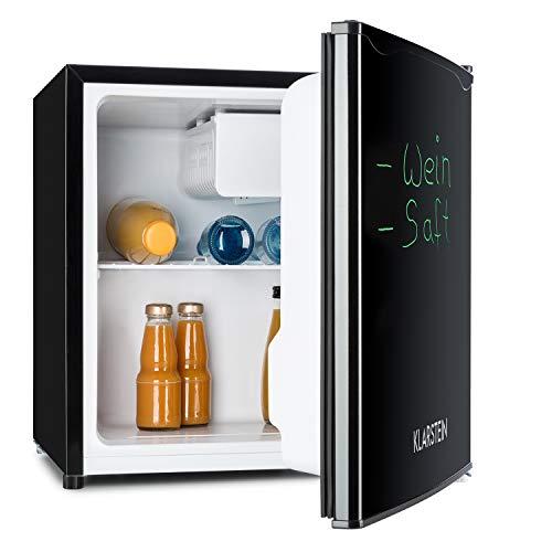 Klarstein Spitzbergen Aca - kompakter Mini-Kühlschrank, Getränkekühlschrank, 40 l Fassungsvermögen, Energieeffizienzklasse A+, 40 L, 2 Ebenen, 2 Türfächer, beschreibbare Kühlschranktür, schwarz