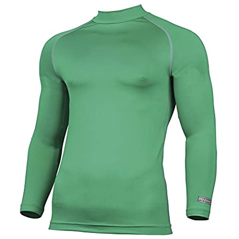 Rhino Base Layer Top Adult - Unisex Long Sleeve Sports Compression Body Fit Top Green Small/Medium