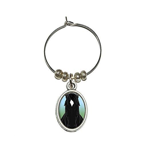 Pferd schwarz Diamant weiß Wein Glas Oval Charm Drink Marker (Pferd Wein Glas Charms)