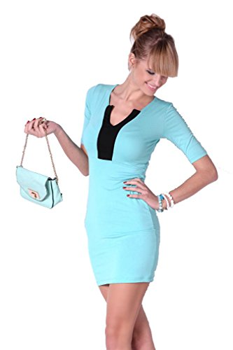 Damen Minikleid Dress Kleid Cocktailkleid Abendkleid V-Ausschnitt 3/4 Ärmel Onesize Gr. S M 36 38, 8474 Babyblau