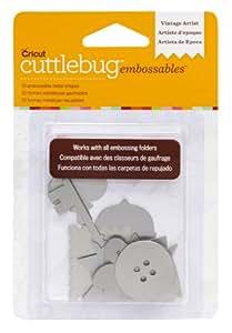 Cuttlebug 2002193 Dossier de Gaufrage Vintage Artist 10 Formes Métalliques Argent 1,49 x 9,39 x 13,9 cm