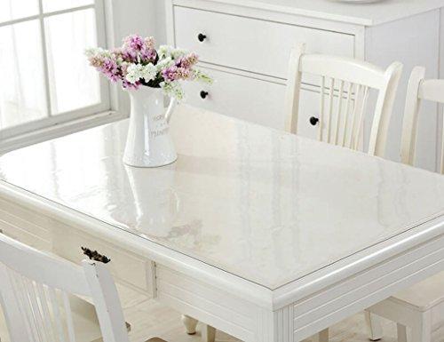 Nappes en Verre Souple PVC Rectangle Table Table Mats en Plastique Imperméable À l'eau Anti-Hot-résistant À l'huile (Couleur : Thickness -2mm, Taille : 70 * 130cm)
