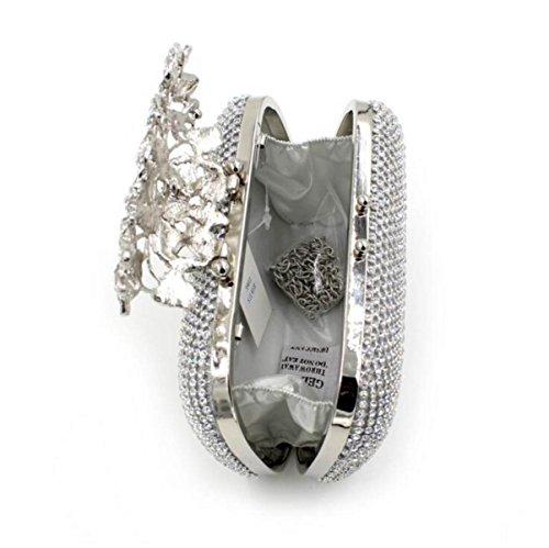 Fiore Di Lusso Sacchetto Del Pranzo Di Diamante Sacchetto Di Sera Delle Borse Delle Signore Strass Silver